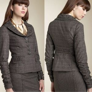Nanette Lepore Ruched Sleeve Plaid Cropped Blazer